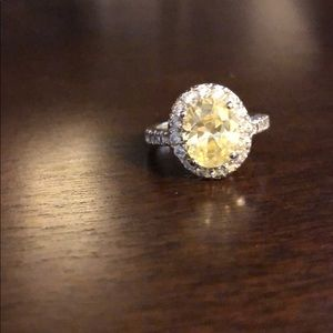 Costume jewelry yellow stone halo ring for sale
